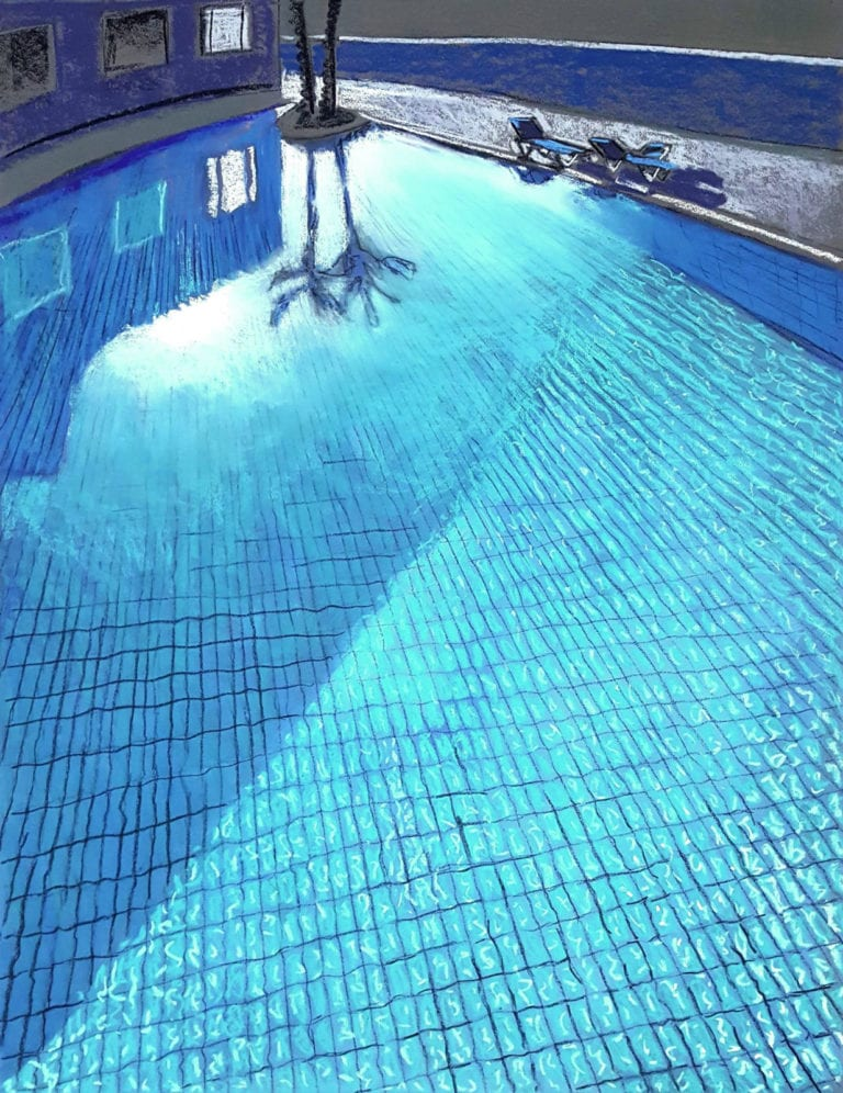 Pastel painting of crystal clear swimming pool.