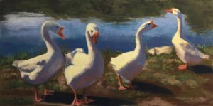 Pastel painting of a gaggle of geese, backlight provided by the sun.