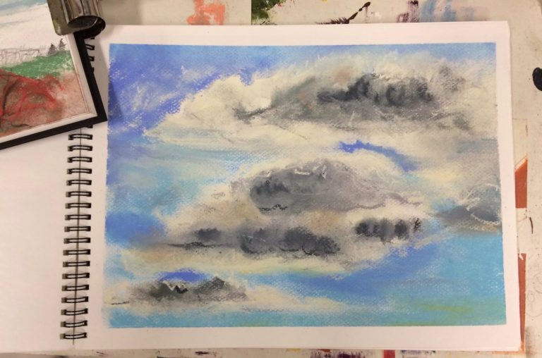 Pastel painting of clouds.