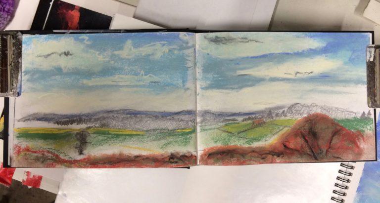 Landscape pastel painting.