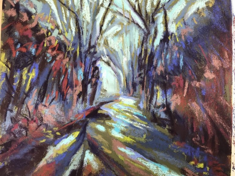 Stylistic pastel painting of a country lane.