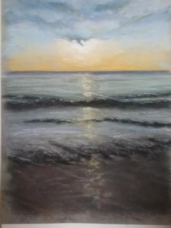 A pastel painting, looking out to sea, with the sun not far from the horizon.