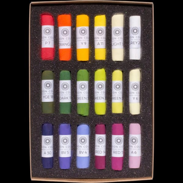 The Botanical 18 set of pastels, covering a range of floral colours.