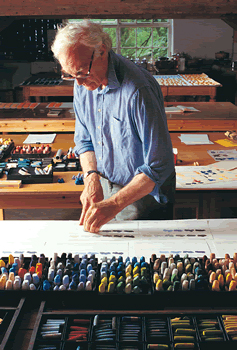 John Hersey in his studio experimenting with colours.