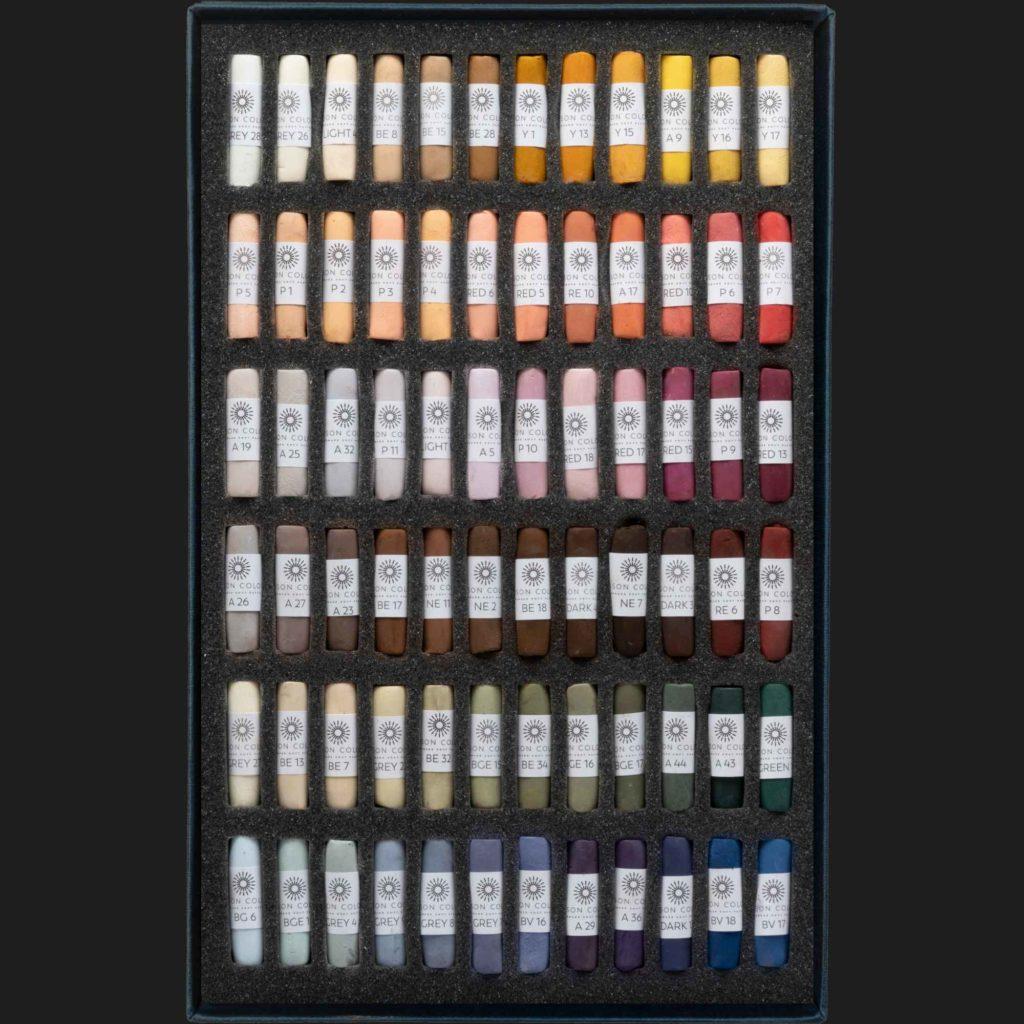 Open box of Portrait 72 pastels.