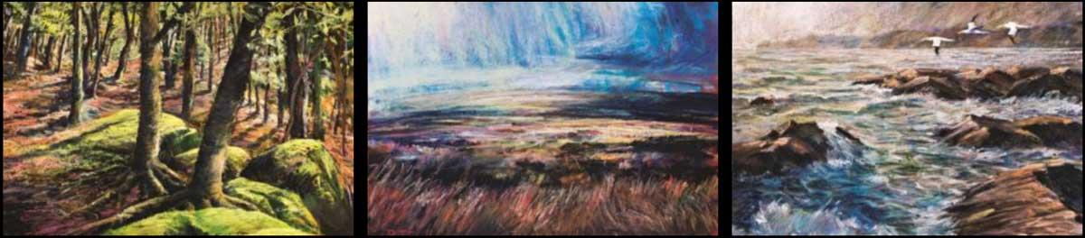 Montage of Robert Dutton's landscape paintings.