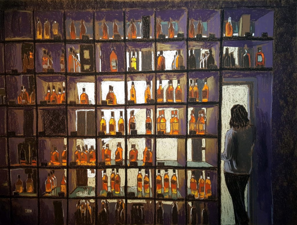 Pastel painting of large wall of shelves, squared off, and filled bottles of whisky.