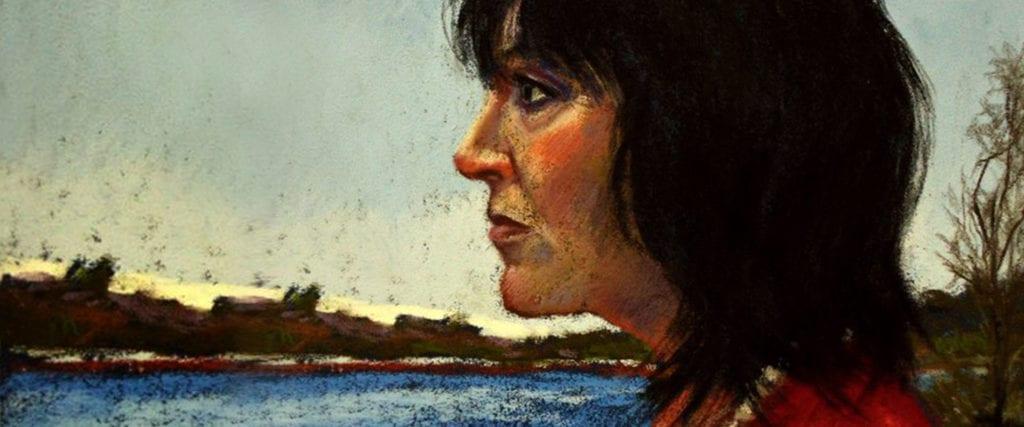 Self portrait in pastel, by Lynn Howarth.