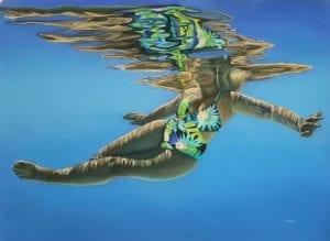 Underwater portrait painting by Michelle Lucking