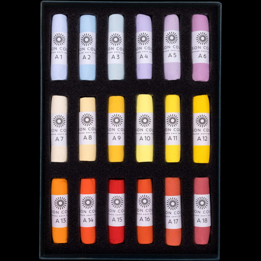 Additional 1 - 18 set of pastels, in an open box.