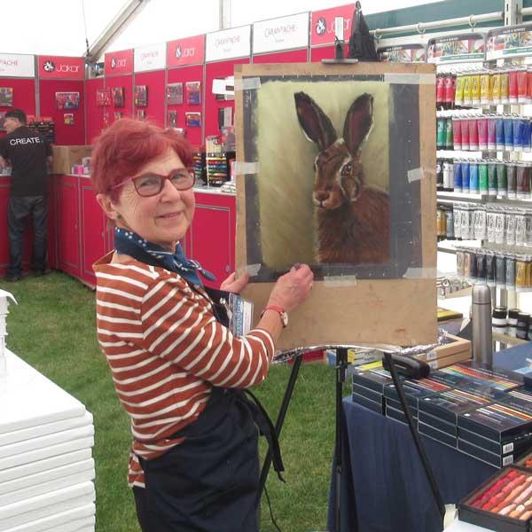 Cath Inglis at an art show.