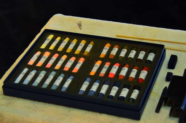 My set of Unison Portrait 36 pastels.