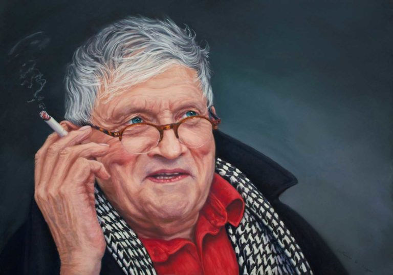 A pastel portrait of David Hockney, by Cath Inglis.