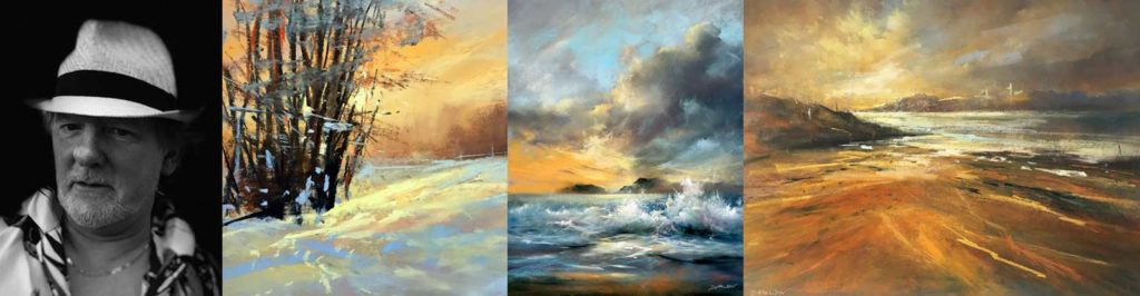A composite of four images featuring a profile photo of Les, and 3 pieces of his work.