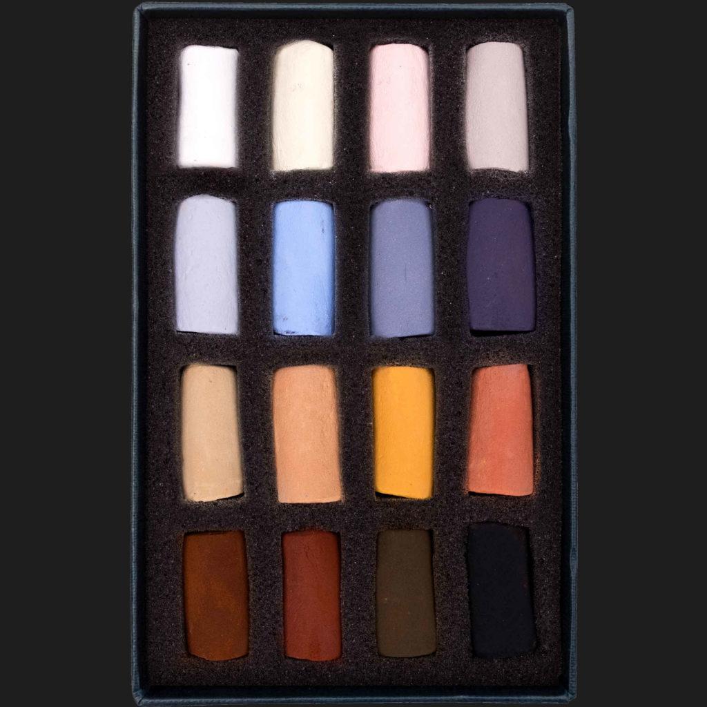 An open box of Animal 16 Half Stick set of Soft Pastels