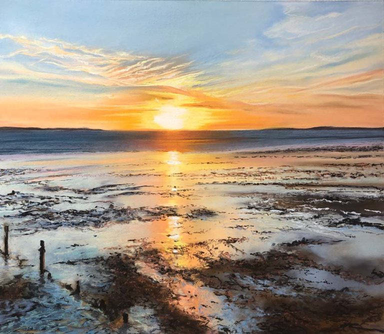 Sunset beach artwork by Jennifer Thorpe.