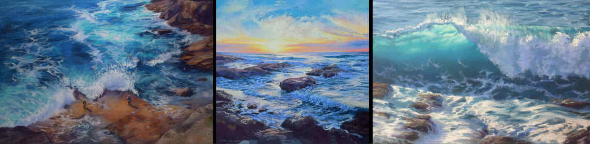 A montage of Tricia Taylor's seascape pastel paintings.