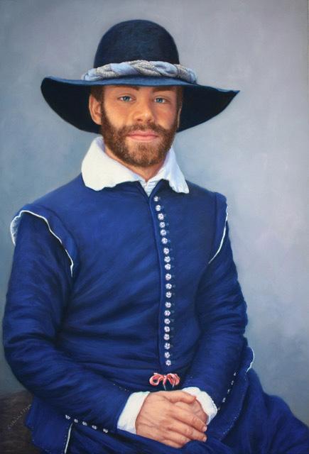 A pastel portrait of William Bradford.