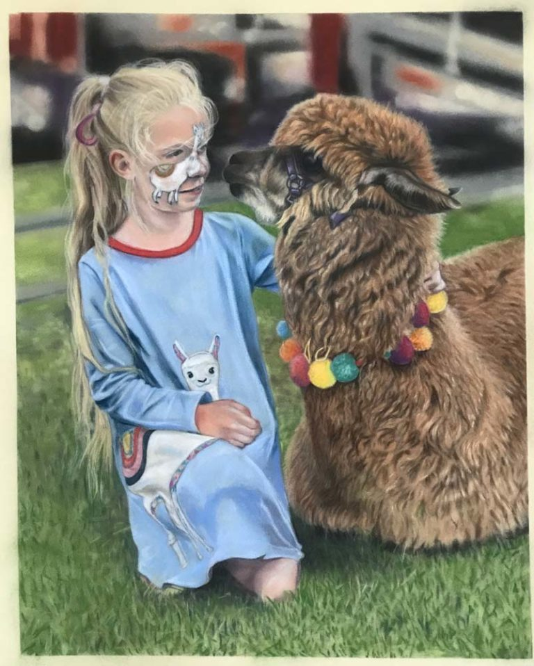 A pastel painting of a young girl in blue dress, and face paint, kneeling next to an alpaca, which is lying in the grass.