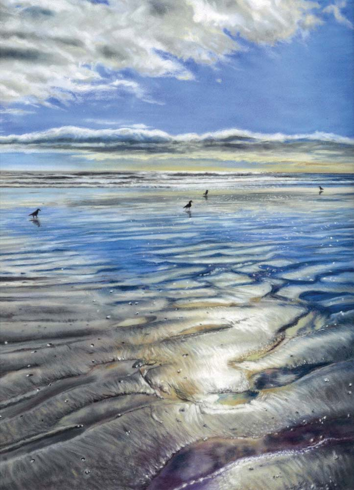 A pastel painting of a beach, with wet sand reflecting the bright sunlight to reveal patterns in the sand.