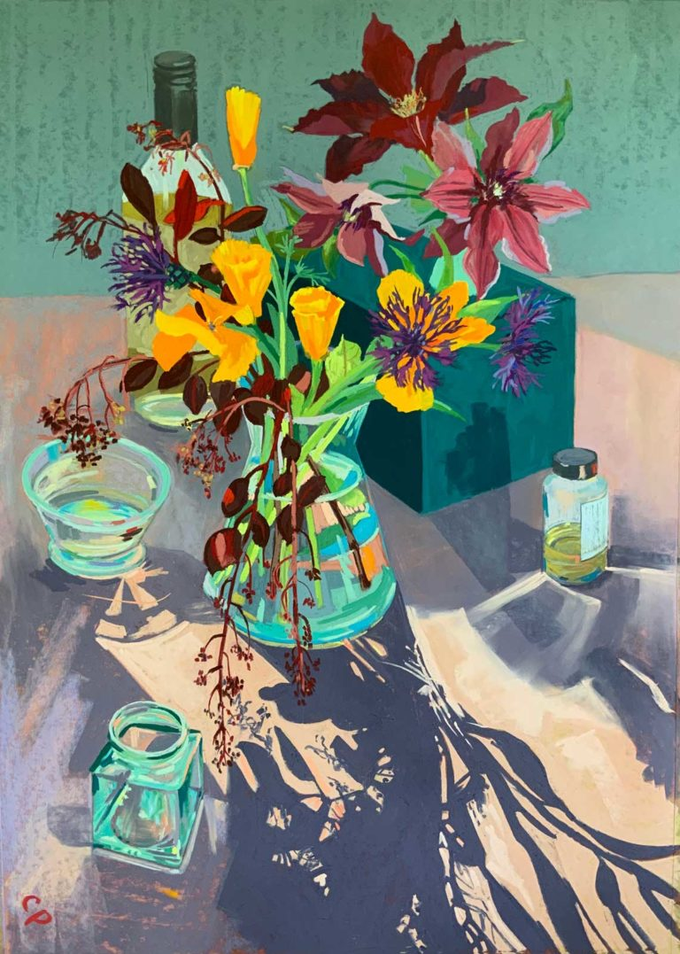 Pastel artwork by Cathy Pearce, depicting a backlit vase of flowers.