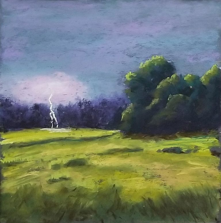 A pastel painting of a lightening strike by a forest.