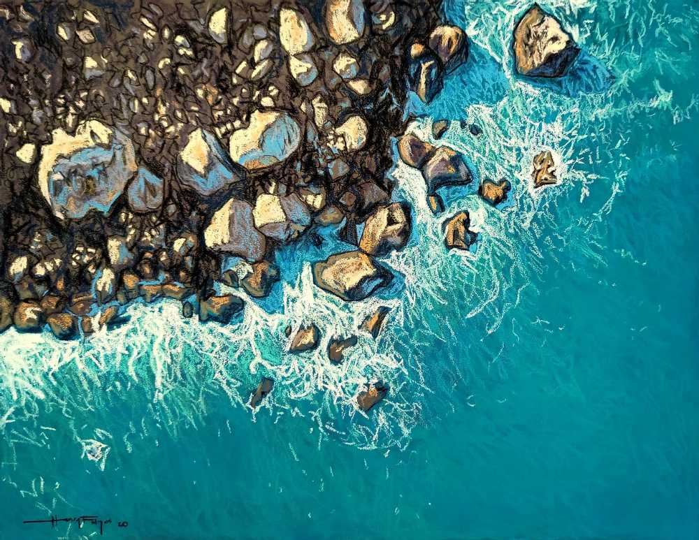 pastel painting of a rocky coastline and azure sea.