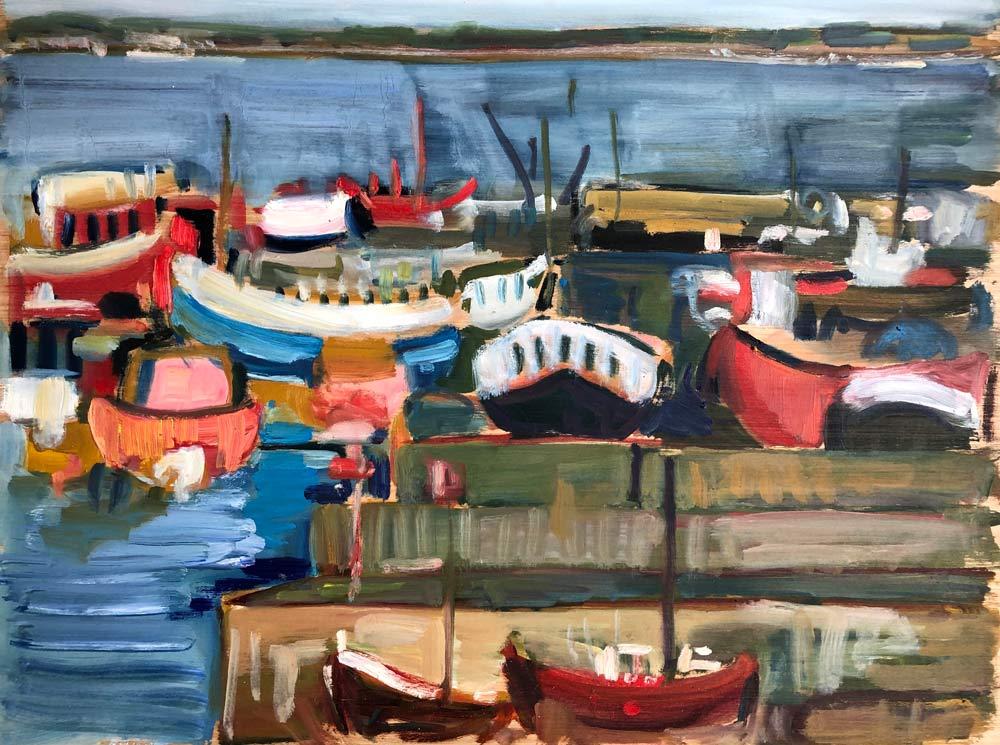 Boats at Newlyn, by Amy Shuckburgh