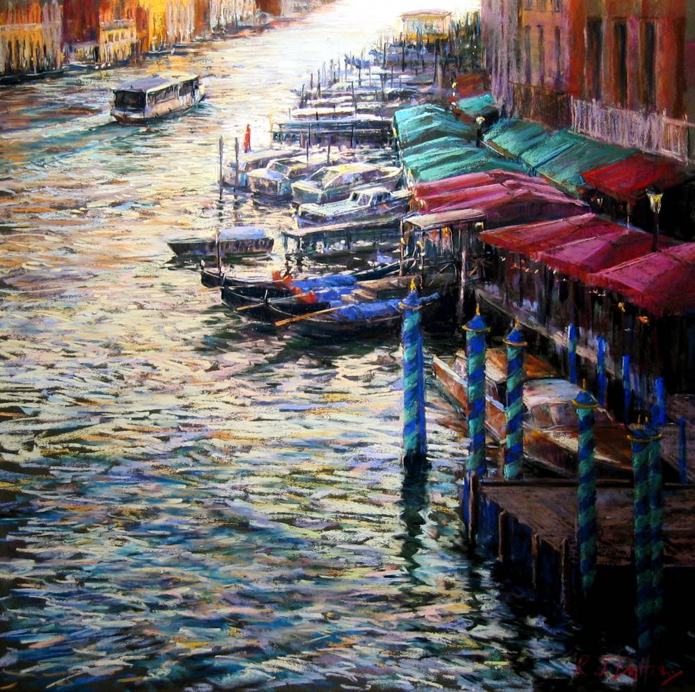 Pastel Painting of the Grand Canal, Venice.