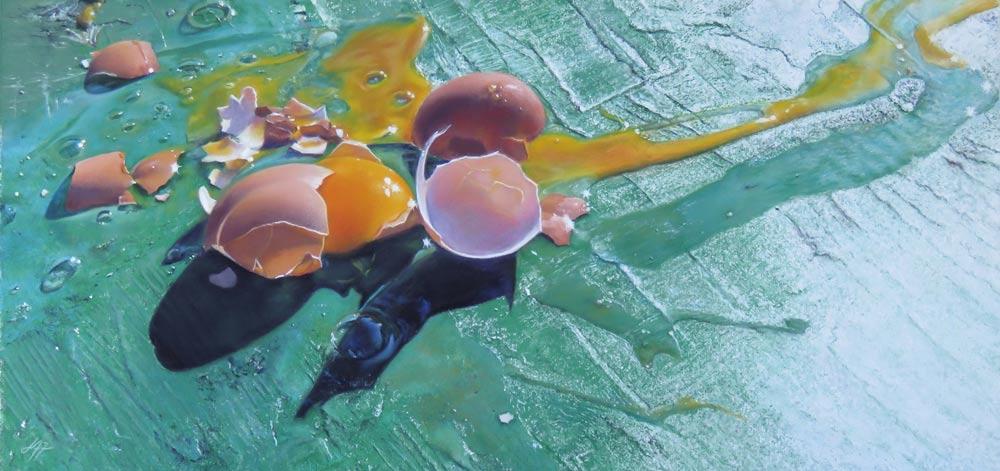 Battery Eggs, by Julie Freeman.