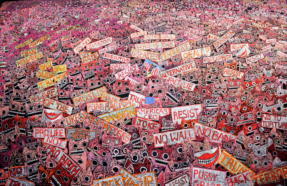 Pink Pussy Protest, pastel painting by Jane Frere.