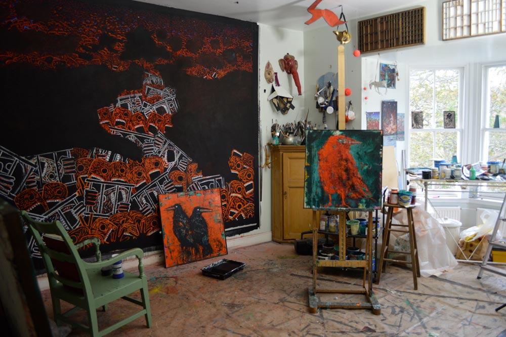 Inside Jane's studio.