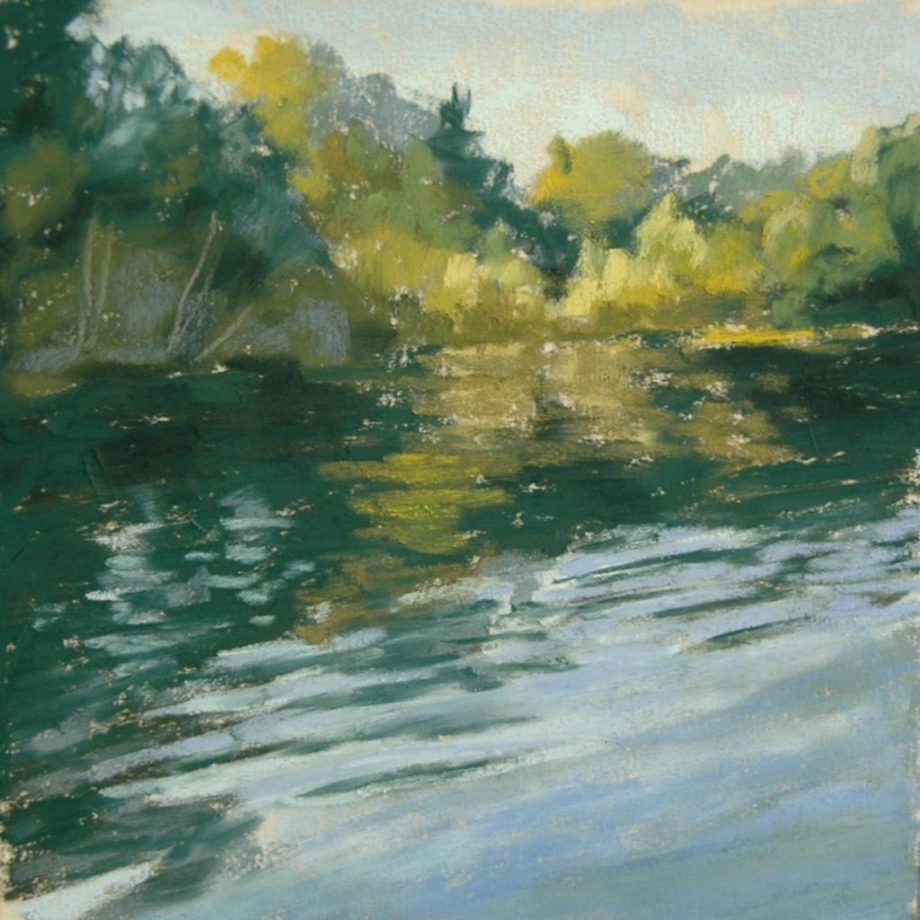 Pastel painting of a lake, in summer.  Smooth ripples in the surface of the water