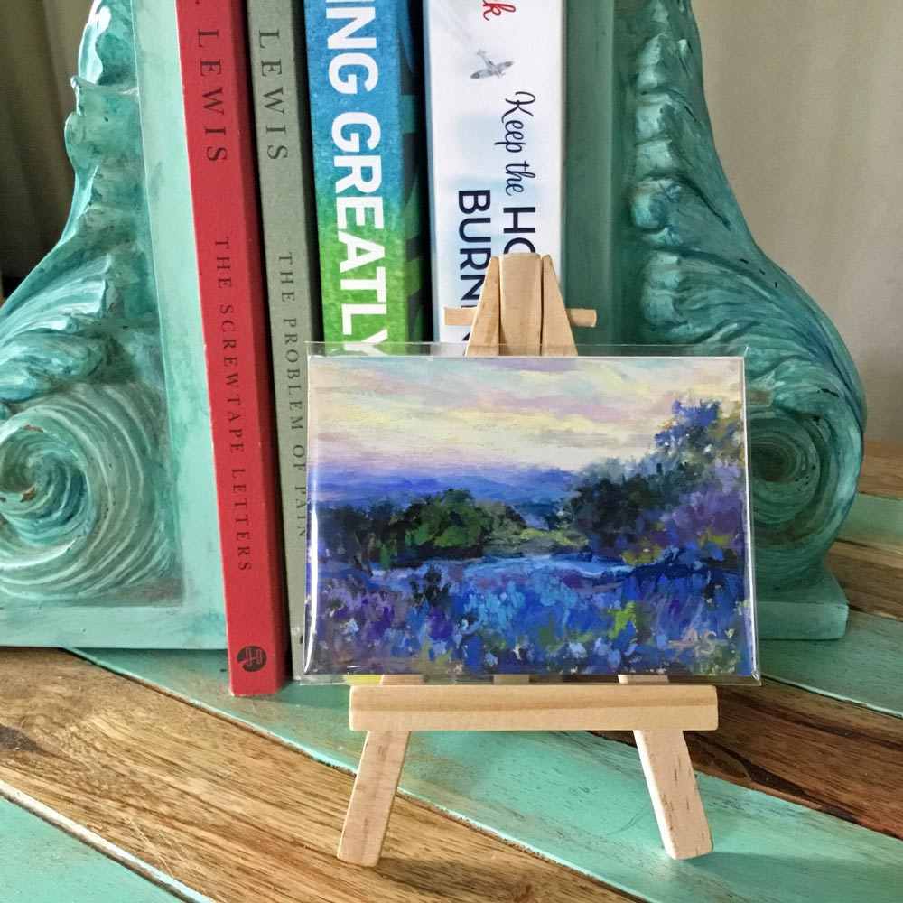One of my ATC's displayed on a tiny easel