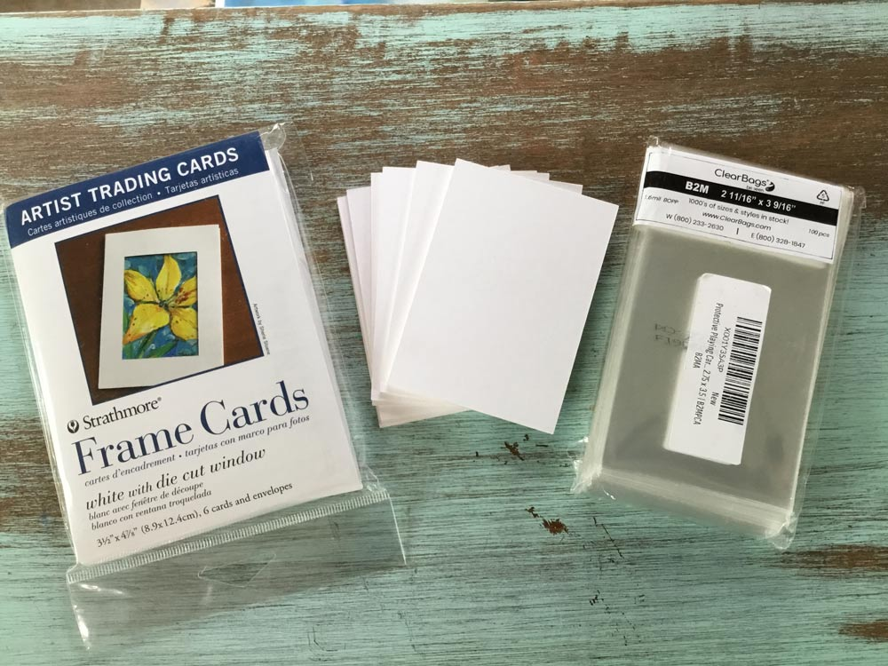 Frame cards, custom cut backing board and clear bags for finished work are available online.