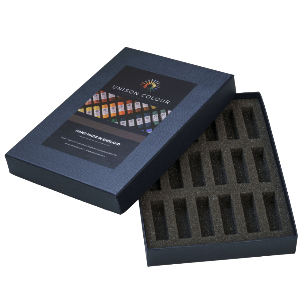 Open pastel box with inserts for 18 Unison Colour Soft Pastels.