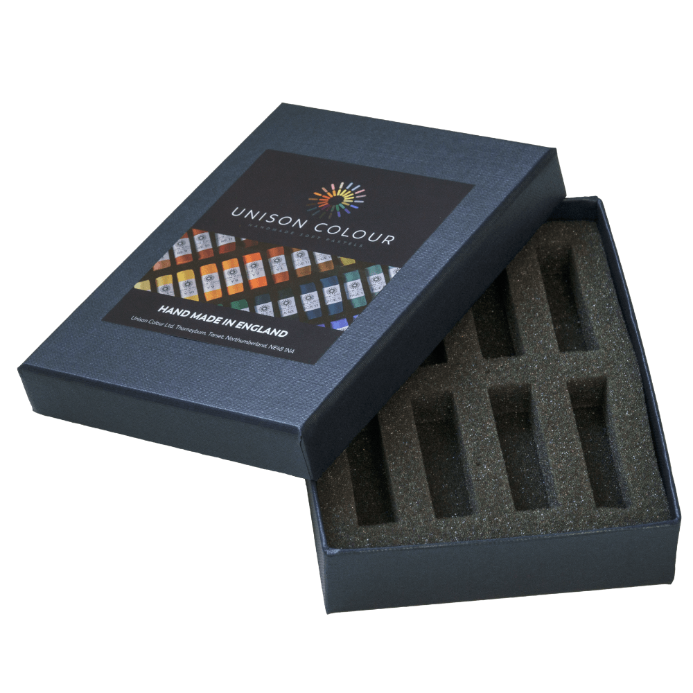 Open pastel box with inserts for 8 Unison Colour Soft Pastels.