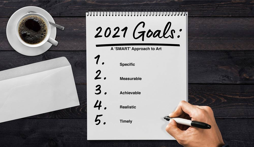Goals, outlined on notepad.