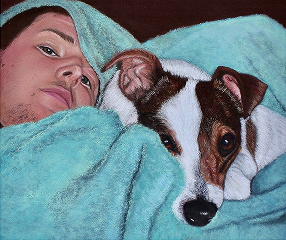 Portrait of Jack Russell and owner.