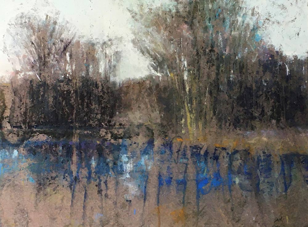 Pond Life patel painting, by David Shkolny.