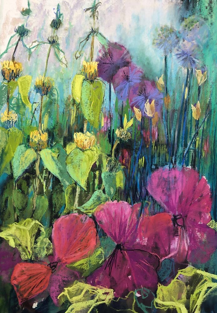 Garden Epiphany, pastel painting by Judy Tate.
