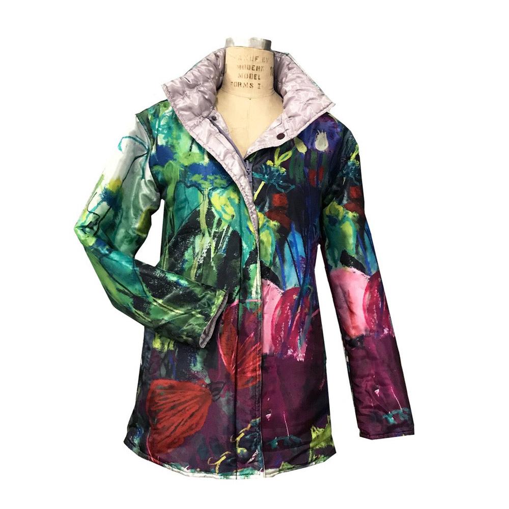Ubuclothing raincoat using fabric printed with Judy's Garden Epiphany painting.