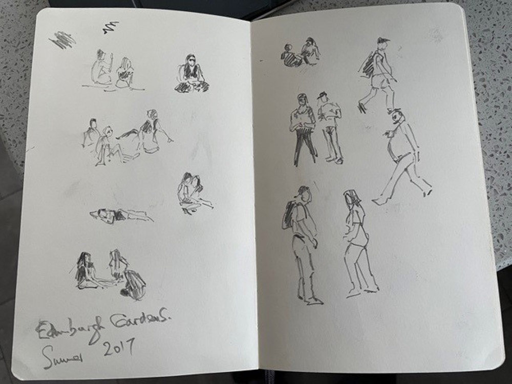 Stuart's sketches of people at the park.