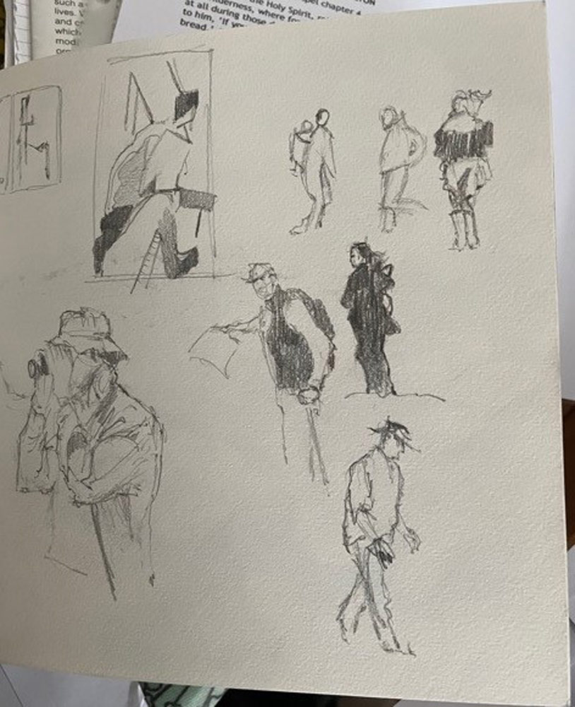 Further sketches of people at the park.