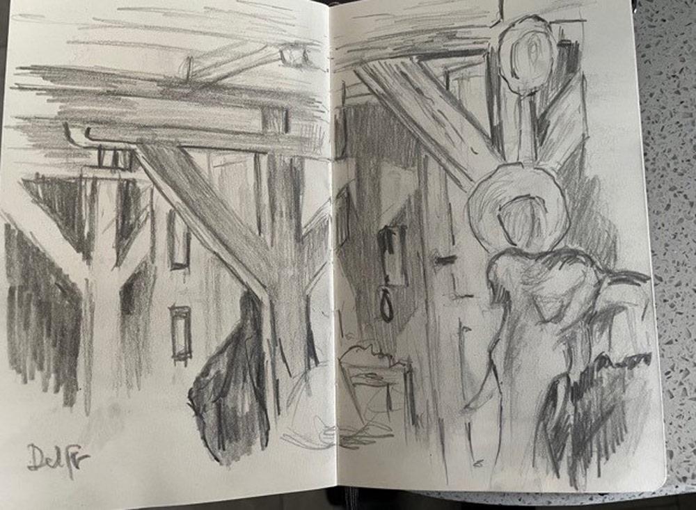 Stuart's sketches of indoor architecture.