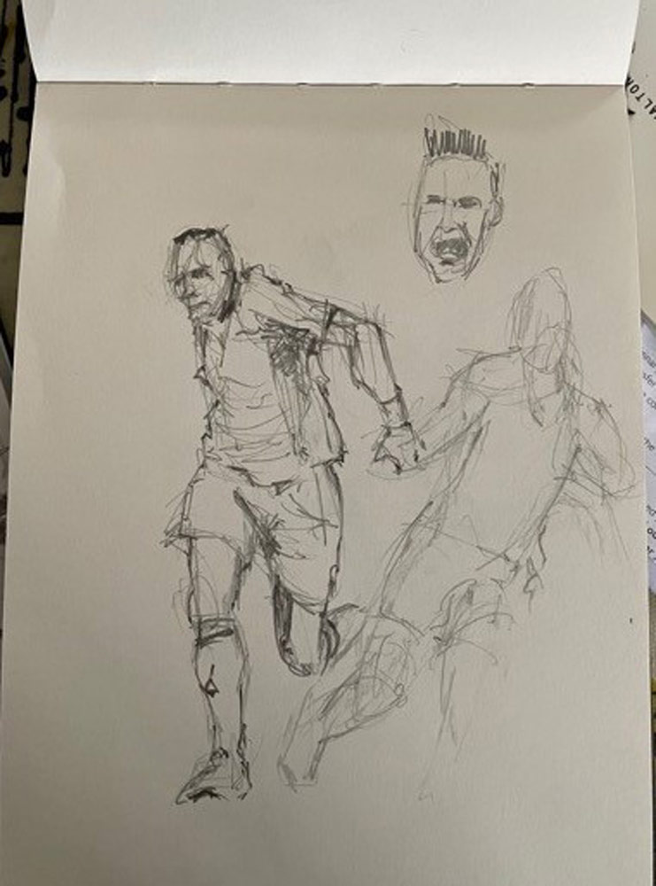 Stuart's sketches of football players.