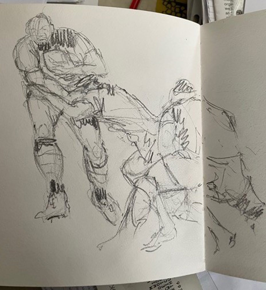 Stuart's sketches of rugby players.