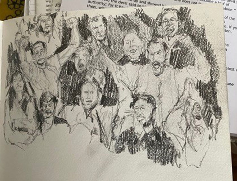 Stuart's sketches of football crowds.