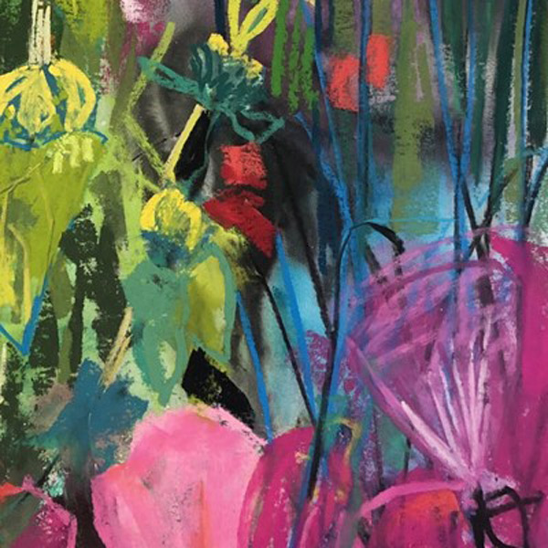 A small section of Judy's painting, Garden Epiphany.