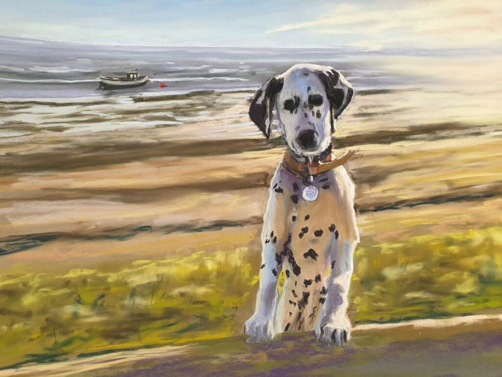 Dalmation pastel painting by Julie Swan